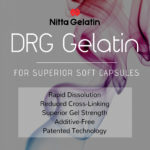 Square decorative logo for DRG gelatin highlighting advantages